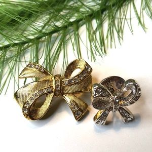 Vintage Napier bow brooch and pin, gold/silver